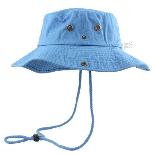 Mens Boonie Bucket Hat 100/% Cotton Light Blue Military Summer Cap Safari Camping
