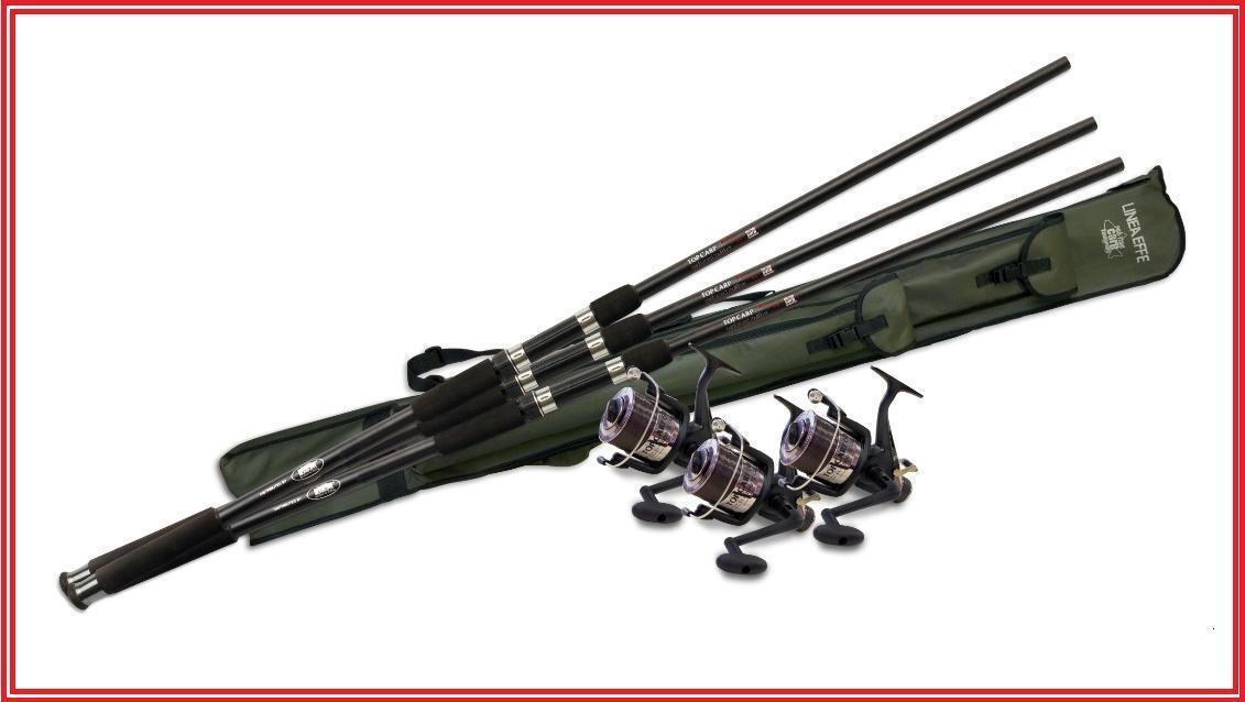 Lineaeffe Top Carp Fishing Kit Rods Reels Holdall Line 2 Rod set or 3 Rod set