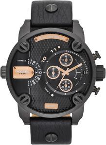 Diesel DZ7291 Black Leather Analog Quartz Men's Watch - Italia - Diesel DZ7291 Black Leather Analog Quartz Men's Watch - Italia