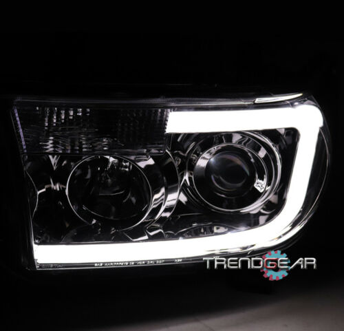 FOR 2007-2013 TOYOTA TUNDRA//2008-2017 SEQUOIA LED DRL PROJECTOR HEADLIGHT CHROME