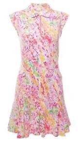 IBKUL Cat Cay Sleeveless Polo Dress Pink Multi S M L XL Golf UPF 50 1/4 Zip