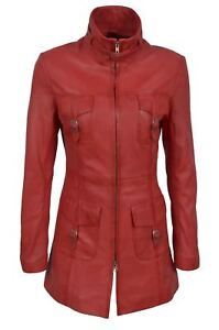 Green-Red-Tan-Ladies-Woman-039-s-Vintage-Soft-Washed-Real-Leather-Jacket-Trench-Coat