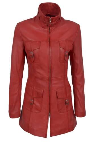 Grün Rot Hellbraun Damen Vintage Weiches Gewaschen Echtleder Jacke Trenchcoat