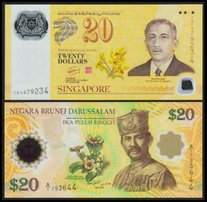 Brunei $20 + Singapore $20 Polymer 40th Commemorative 1967-2007 Pair (UNC)