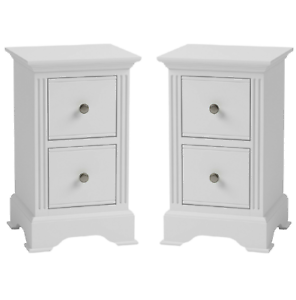 White Bedside Cabinets Matching Pair