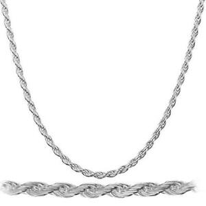 Men-039-s-White-Gold-Plated-316-Stainless-Steel-Rope-Chain-20-034-30-034