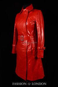 Designer Mac Long Knee Red Ladies Trench 704 Florence Leather Length Coat Jacket qg1EHE