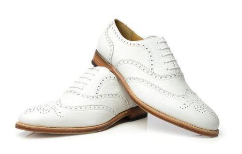 Mens Winged wingstip Brogue Formale scarpe bianche Leather  Sole e scarpe Heel  contatore genuino