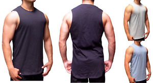 e024eccae8f mens extra long length muscle tank top tall tee gym fashion shirt drop tail
