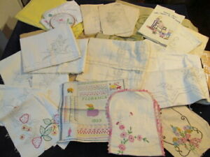 Vintage-Linen-20pc-Lot-Pre-Stamped-to-Embroider-1920s-1950s-Wide-Variety-Sj
