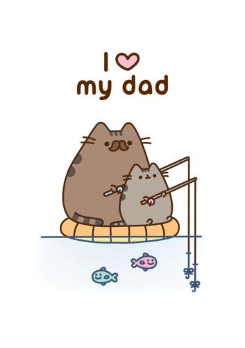 Pusheen Cat J/'aime mon Papa Anniversaire tous Occasion carte vierge GRATUIT 1ST CLASSE POST