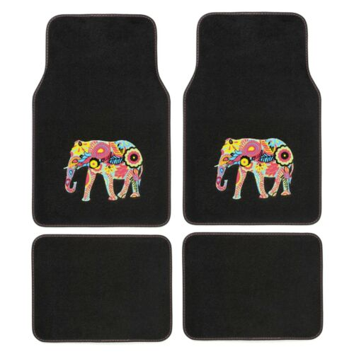 4pce Sumex Colourful Fun Asian Indian Elephant Universal Car Van Carpet Mat Set