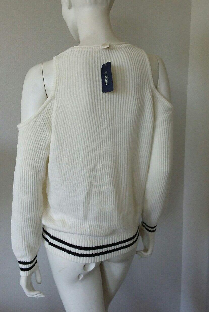 Forever 21 open shoulder white light long long long sleeve sweater sz M NWT ff2dfd