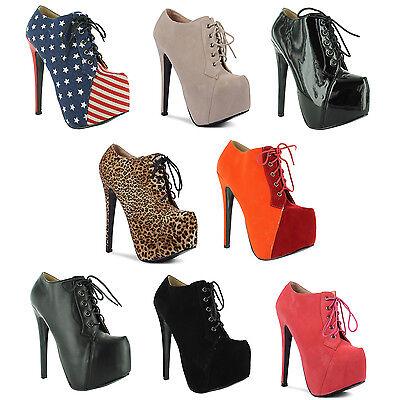 New Ladies Stiletto High Heel Concealed Platform Ankle Boots Size UK 3 4 5 6 7 8