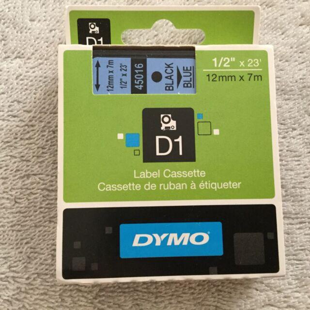 Dymo D1 Label Cassette Black/Blue 1/2 X 23. 45016 Genuine