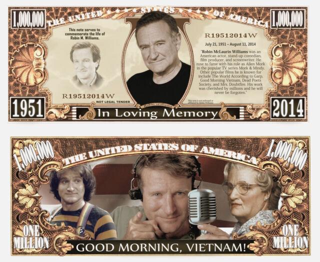 Robin Williams - In Loving Memory Million Dollar Novelty Money