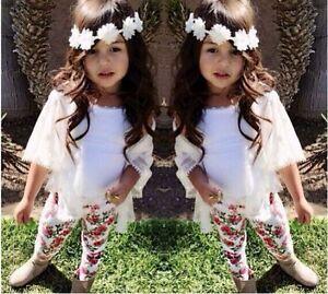 Mode 2019 3pcs Enfants Bébé Filles Tenue Tops + Gilet + Legging Floral Pantalon Vêtements Set-afficher Le Titre D'origine