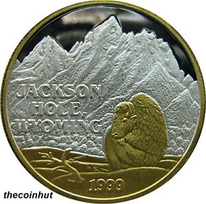 1-oz-999-Silver-1999-Jackson-Hole-Wyoming-24-K-Gold-Coin-Northwest-Mint-CH5139
