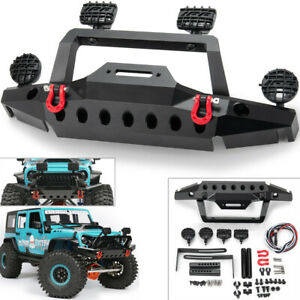 Metal-Front-Bumper-w-2-Led-Light-for-1-10-RC-Crawler-TRAXXAS-TRX-4-Sport-TF2