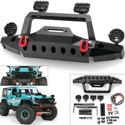 Black fosa RC Car Front Bumper Metal Front Bumper with 2 LED Lights for 1//10 Traxxas TRX-4 SCX10 90046 Traxxas TRX-4 1//10 Scale RC Crawler Car Remote Control Crawler Car