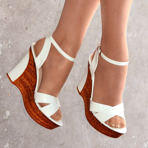 Ladies Ankle Strap Wedges Womens Platform Summer Shoes Patent Cork Size   H20174