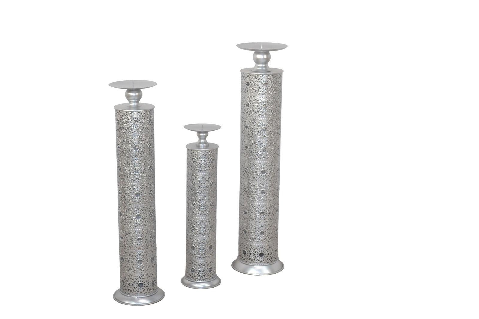 Moebel direkt online 3tlg. Kerzenständer-Set silber
