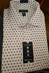 Club-Room-Mens-Dress-Shirt-White-Blue-Size-17-1-2-36-37-Button-Down-55
