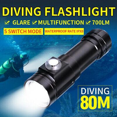10000Lm 80M Underwater XM-L2 LED Scuba Diving 18650 Flashlight Torch 4 Mode Lamp
