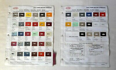 2004 FORD CAR AND TRUCK DUPONT COLOR PAINT CHIP CHART ALL ...