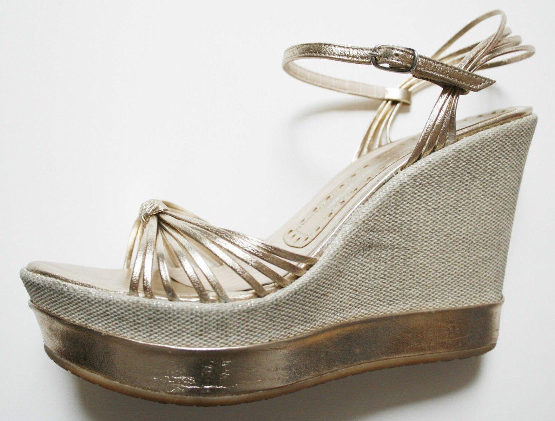 LUXUS  FORNARINA Wedges 36 Keil Sandalen Glam Glam Glam Gold Bronze Blogger Wiesn Dirndl 94ec7d