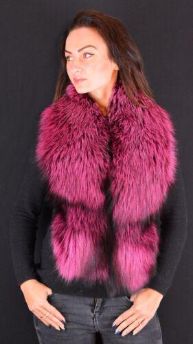 Saga Furs Hot Pink Silver Real Fox Fur Winter Shoulder Wrap Scarf Boa Stole