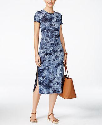 NWT $98 MICHAEL Michael Kors Short-Sleeve Tie-Dyed Soft Linen Dress