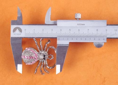 2PC 40X37MM rose Gem Strass Argent Western Spider Decor Craft Chaussures Conchos