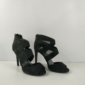 WOMENS-NEW-LOOK-FAUX-SUEDE-MESH-BLACK-CAGED-ZIP-UP-HIGH-HEELS-SHOES-UK-7-EU-40