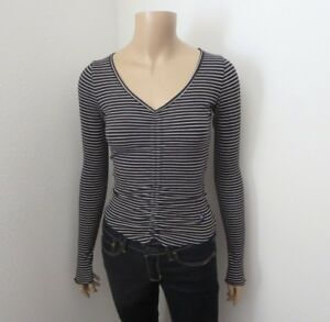 7fc9ebe43 NWT Hollister Striped Long Sleeve Crop Ribbed Top Size XS Ruched ...
