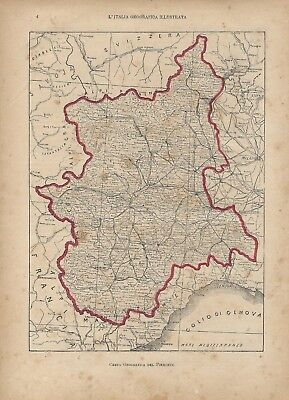 Cartina Geografica Piemonte Valle D Aosta.Carta Geografica Antica Piemonte E Valle D Aosta 1891 Old Antique Map Ebay
