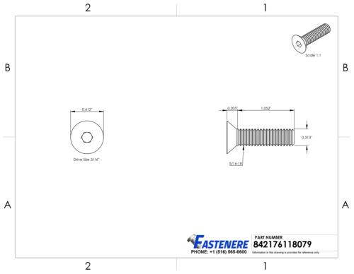 "5//16-18 x 1-1//4/"" Flat Head Socket Cap Screws Allen Drive Stainless Steel Qty 25"