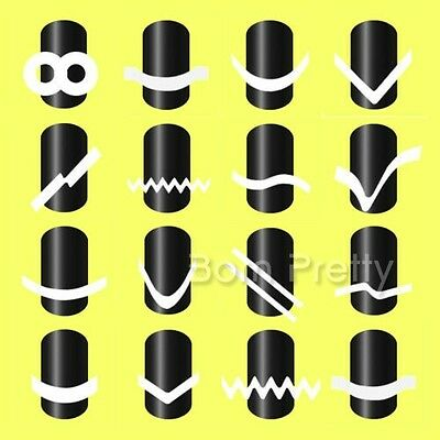 16 Sheets/Set French Manicure DIY Nail Art Tips Guides Stickers Stencil Strip