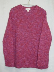 C-J-Banks-Plus-Size-1X-Long-Sleeve-Pink-Pullover-Sweater-Bust-43-46-034