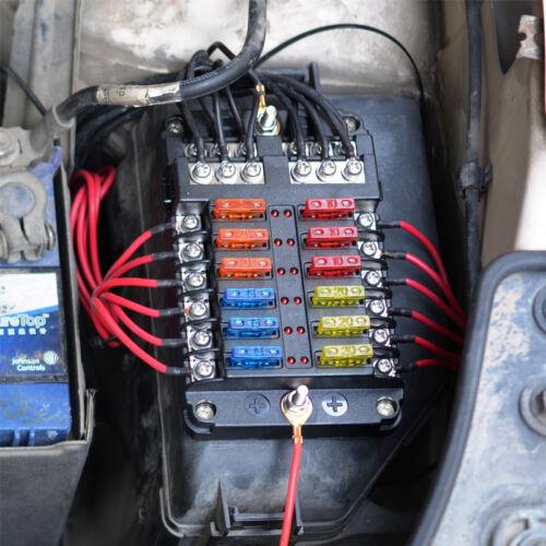 12Way Circuit Blade Fuse Block Box Led Indicator 32V 100A Holder Ground Car Boat