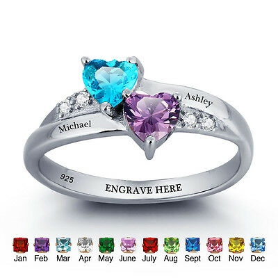 Personalized Gifts Engraved Jewelry Birthstone Name Ring Infinity Couple Rings