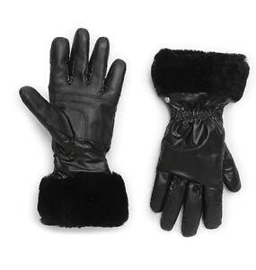 NWT-UGG-Women-s-Shearling-Cuffed-Leather-amp-Nylon-Tech-Gloves-Black-L-XL