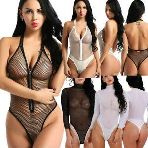 Womens-Sexy-Mesh-Bodysuit-Leotard-Bodycon-Sheer-Jumpsuit-Body-Stocking-Clubwear