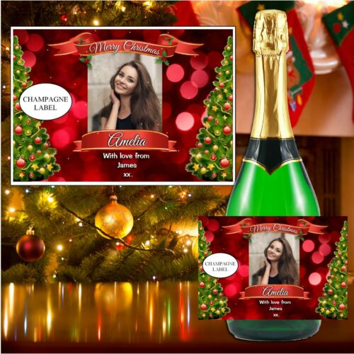 Personalised Christmas Wine Champagne Bottle Labels For him her secret santa