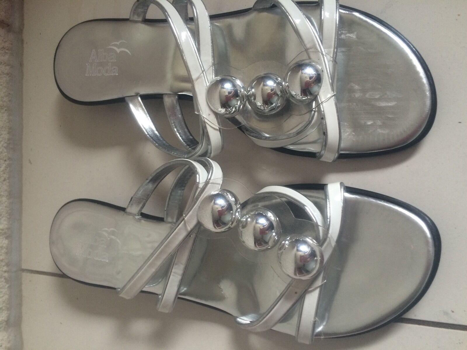 Alba Moda Sandaletten Sandalen 38,5 Schuhe Gr. 38 / 38,5 Sandalen Silber/weiß Np. 69,95 Top f58b54