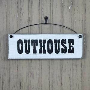 Image Is Loading Outhouse Sign Farmhouse Style Signs Bathroom Wall Decor