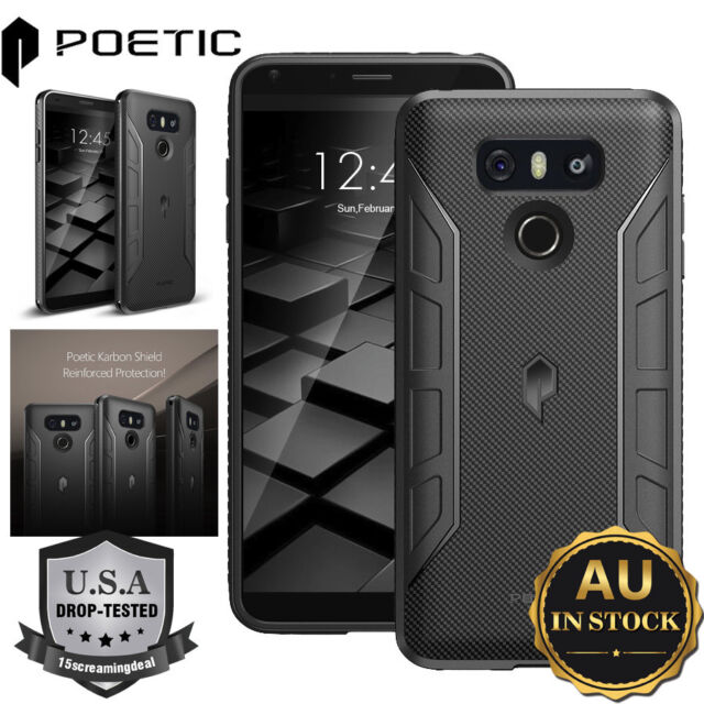 Poetic Karbon Shield TPU Case Cover With Anti-Slip Side Grip For LG G6 Black