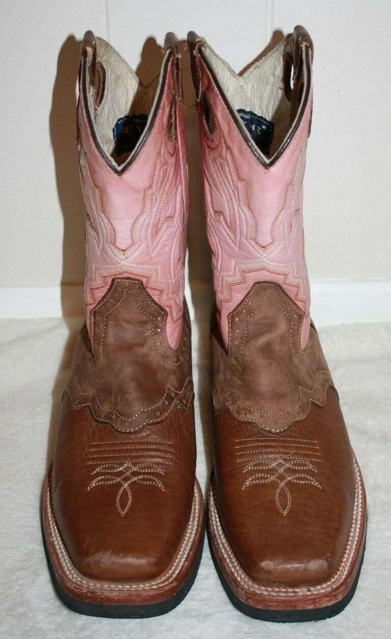 "REYME 11"" Ladies Brown & Pink Cowboy Boots Size 9 - image 2"