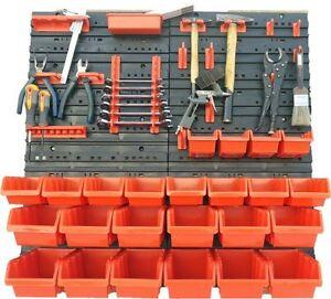 45-teiliges-SET-Lagersichtboxenwand-Stapelboxen-mit-Montagewand-Werkzeugwand