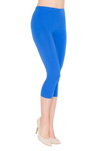 Womens Cropped 3//4 Capri Length Leggings Summer 100/% Genuine Cotton